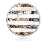 Nikki Lissoni Silver tone 1 1 4 Inch Striped Shell Coin