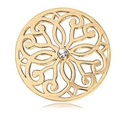 Nikki Lissoni Gold tone 1 1 4 Inch Clear Swarovski Baroque Coin