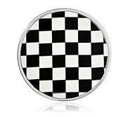 Nikki Lissoni Silver tone 1 1 4 Inch Shell   Epoxy Mosaic Coin