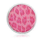 Nikki Lissoni Silver tone 1 1 4 Inch Overlay Pink Leopard Print  Coin