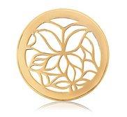 Nikki Lissoni Gold tone 1 Inch Enamel White Butterfly Coin