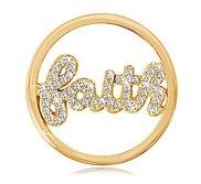 Nikki Lissoni Gold tone 1 1 4 Inch  Swarovski Sparkling Faith Coin