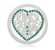 Nikki Lissoni Silver tone 1 1 4 Inch Swarovski Green Heart Coin