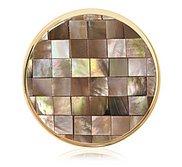Nikki Lissoni Gold tone 1 1 4 Inch Brown Shell Mosaic Coin