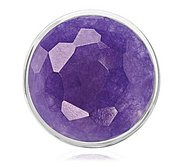 Nikki Lissoni Silver tone 1 1 4 Inch Faceted DeepPurple Quartzite Coin