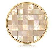 Nikki Lissoni Gold tone 1 1 4 Inch Yellow Shell   MOP Mosaic Coin