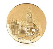 Nikki Lissoni Gold tone 1 3 4 Inch Two Sided London Big Ben Coin