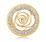 Nikki Lissoni Gold tone 1 Inch Swarovski Enamel Vintage Rose Coin