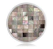 Nikki Lissoni Silver tone 1 1 4 Inch Shell   MOP Mosaic Coin
