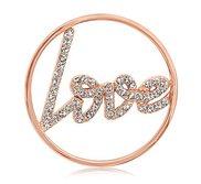 Nikki Lissoni Rose tone 1 1 4 Inch Swarovski Sparkling Love Coin