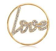 Nikki Lissoni Gold tone 1 1 4 Inch Swarovski Sparkling Love Coin