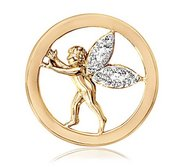 Nikki Lissoni Gold tone 1 Inch Clear Swarovski Elements Sparkling Angel