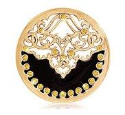 Nikki Lissoni Gold tone 1 1 4 Inch Yellow Swarovski Ename Velvet Coin
