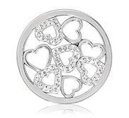 Nikki Lissoni Silver tone 1 1 4 Inch Swarovski Sparkling Hearts Coin