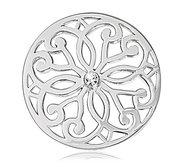 Nikki Lissoni Silver tone 1 1 4 Inch Clear Swarovski Baroque Coin