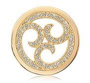 Nikki Lissoni 1 1 4 Inch Gold tone Swarovski Sparkling Curls Coin