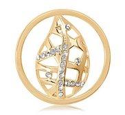 Nikki Lissoni Gold tone 1 1 4 Inch  Swarovski Sparkling Fall Leaf Coin