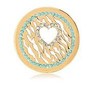 Nikki Lissoni Gold tone 1 1 4 Inc Clear Black Swarovski Wild Love Coin