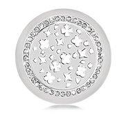 Nikki Lissoni Silver tone 1 1 4 Inch Clear Swarovski Shanghai Coin