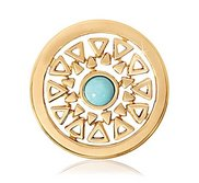 Nikki Lissoni Gold tone 1 Inch Turquoise Inner Beauty Coin