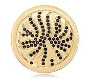 Nikki Lissoni Gold tone 1 1 4 Inch Black Swarovski Elements Coin