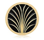 Nikki Lissoni Gold tone 1 1 4 Inch Gold Leaves Enameled Coin