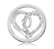 Nikki Lissoni Silver tone 1 Inch Clear Swarovski Connected Love Coin