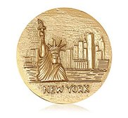 Nikki Lissoni Gold tone 1 3 4 Inch 2 Sided NYC Statue of Liberty Coin