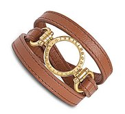 Nikki Lissoni Brown Leather w  1 Inch Yellow Coin Holder Wrap Bracelet