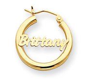 14K Yellow Gold  Name Script Nickel Sized Hoop Earrings