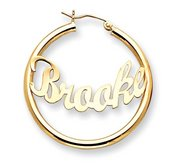 14K Yellow Gold Polished Curved Script Name Half Dollar Size Hoop Earrings