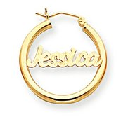 14K Yellow Gold  Polished   Diamond Cut Name Script Quarter Sized Hoop Earrings