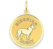 Siberian Husky Disc Charm or Pendant