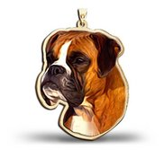 Boxer Dog Color Portrait Charm or Pendant