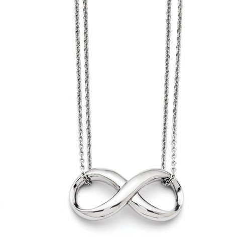 Stainless Steel Polished Two Strand Infinity Symbol Necklace