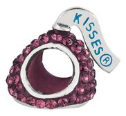 Sterling Silver HERSHEY S KISSES 3D Dark Purple Swarovski Crystal Bead Charm