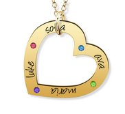 Personalized Heart Pendant with up to 4 Birthstones   Names