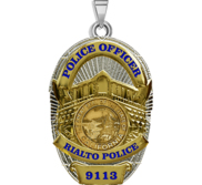 Personalized California Rialto Police Badge with Your Rank and Number
