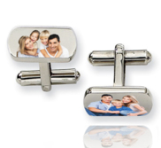 Rectangle Stainless Steel Photo Engravable Cufflinks
