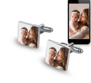 Square Stainless Steel Photo Engravable Cufflinks