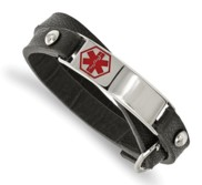 Stainless Steel Polishedl Leather Wrap Medical Adjustable Bracelet