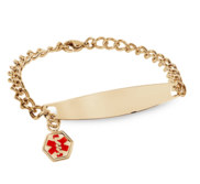 Gold Plated Stainless Steel Ladies Bracelet W  Charm