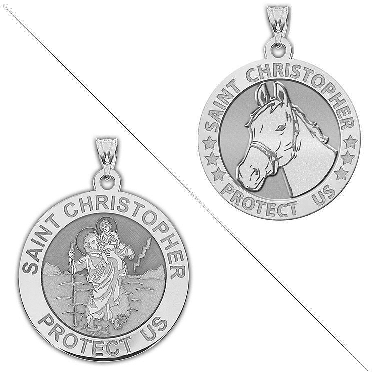 Saint Christopher Doubledside Sports Religious Medal 2//3 Inch Solid 14K White Gold PicturesOnGold.com Volleyball