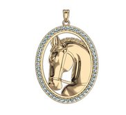Ravel RaceHorse Diamond Studded Oval Horse Jewelry Pendant