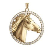 RaceHorse Diamond Studded Round Horse Jewelry Pendant