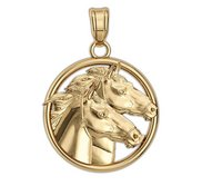 Racing Horses on a Round Frame Horse Jewelry Pendant or Charm
