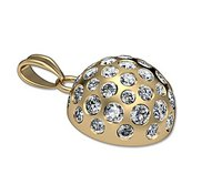 Engravable Half Golf Ball Medal with Studded Diamonds