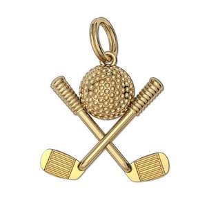 Engravable Golf Ball with Clubs Pendant