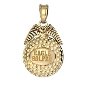 Engravable Golf Eagle Golf Jewelry Charm or Pendant