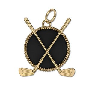 Clubs Round Rope Frame with Onyx Golf Jewelry Pendant or Charm